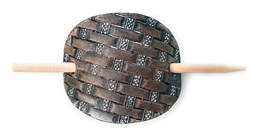 Hand-Tooled Leather Celtic Basket Weave Small Hair Barrette with Stick