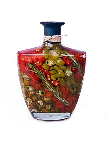 "8"" PROFUMA Vinegar Bottle, infused with yellow chili, red chili, green chili, garlic and vinegar."