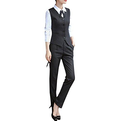 Women's Business 2 Piece Office Lady Vest and Pant Suit Set by YUNCLOS