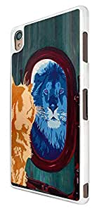 427 - Cool Cat Mirror Lion Design For Sony Xperia Z3 Fashion Trend CASE Back COVER Plastic&Thin Metal