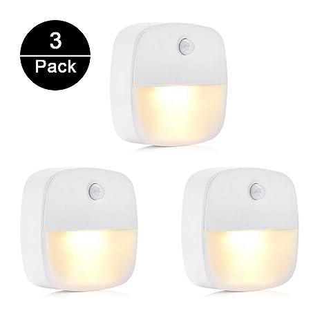 Luz Nocturna, unibelin 3pcs Lámpara Nocturna con Sensor Bajo Consumo Fija a Cualquier Sitio Luz