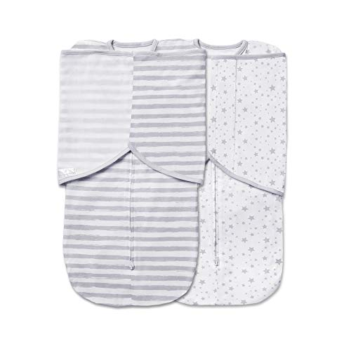 BreathableBaby Adjustable 3-in-1 Soft Premium Cotton Swaddle Trio 2 Pack, One Size (0-4 months) - Gray Stars and Stripes