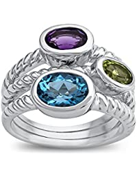 Amethyst, Peridot, and Blue Topaz Ring Sterling Silver