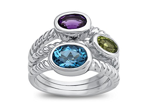 Finejewelers Amethyst, Peridot, and Blue Topaz Ring Sterling Silver
