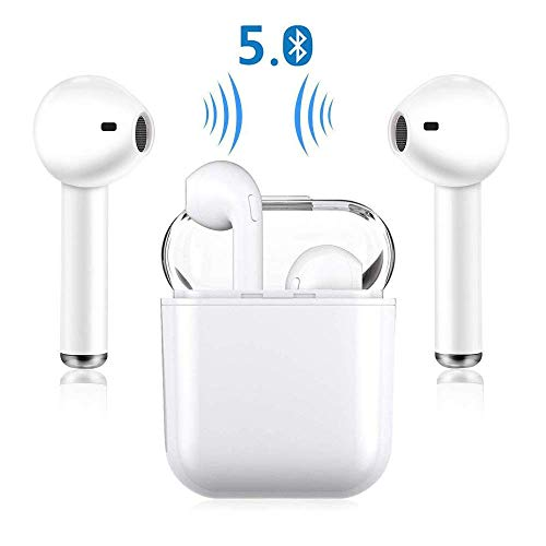 Bluetooth Earphones Wireless Earbuds Stereo Headphones Cordless Sports Headsets Compatible with iPhone XMAS/XR/X/8/7/6/6s Plus Samsung Galaxy S7 S8 S9 Plus Android Huawei Xiaomi-White