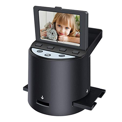 Digital Film Scanner with 22MP, Converts 35mm, 126, 110, Super 8 Films, Slides, Negatives to JPEG, Tilt-Up 3.5″ LCD, Includes Cables, Film Inserts&More, MAC and PC Compatible