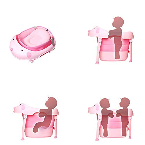Children Safe Portable Foldable Bathtub, 29x21inch - Baby Bath Tub Kids Bath Tub Can Sit Lying Bath Tub for 6 Months to 10 Years Old Children (Pink) by Finebaby (Image #5)