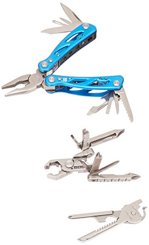 Swiss+Tech ST20023M2 Men's Gift Sets of 3 with Utility Key Tool, Micro Pocket Multitools for Outdoors, Sports, Hardware - 2 Pack, Polished Stainless Steel/Blue