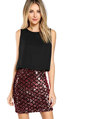 Romwe Women's Sexy Layered Look Fashion Club Wear Party Sparkle Sequin Tank Dress Red M ()