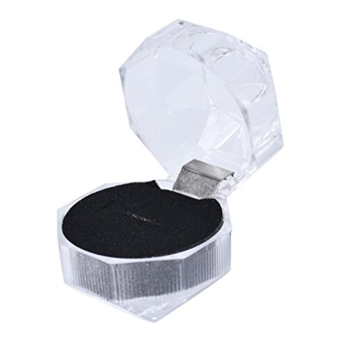 Botrong Acrylic Jewelry Packing Holder Ring Transparent Gift Box (Black)