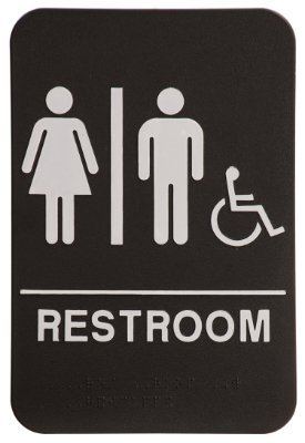 Unisex Restroom Sign Black/White - ADA Compliant: Business ...