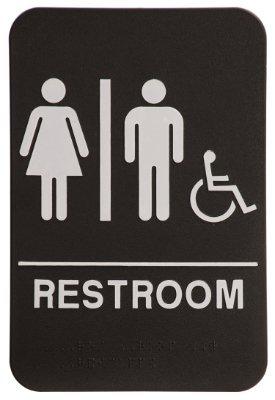 Unisex Restroom Sign Black/White - ADA Compliant: Business ...