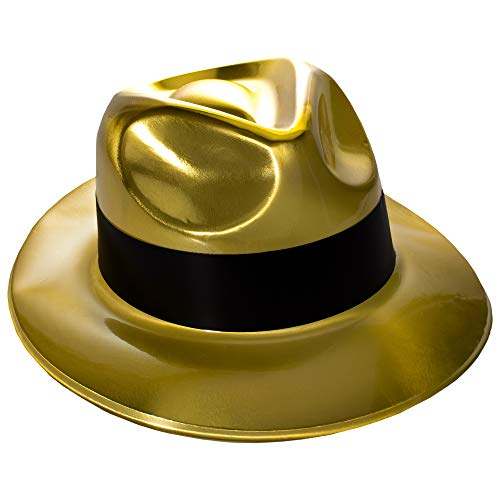 Gold Gangster Fedora Hats - 12 Pack]()