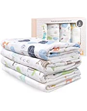 Baby Muslin Swaddle Blanket, Bamboo Baby Swaddle Wrap, Newborn Receiving Blanket Gift for Baby Shower, Large 47 X 47 inch, 4 Pack, Squirrel/Flower/Fish/Dinosaur