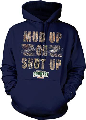 Hoodteez Mossy Oak Mud Up Or Shut Up Camouflage Hooded Sweatshirt, L Navy