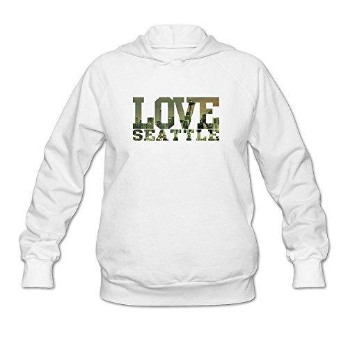 DASY Women's O-neck I Love Seattle Hooded Large White