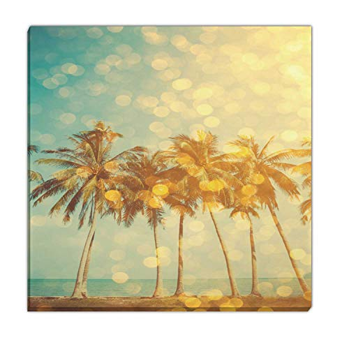 Hitecera Tropical Beach with Golden Party Glamour Bokeh Overlay Living Room Wall Decor,069932 Christmas Pictures for Wall,8x8in (Christmas Overlay Bokeh)