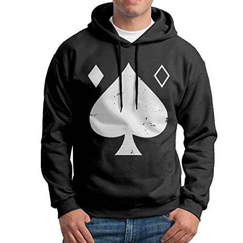 (Des-Tiny 2 Ace of Spades Men's Long Sleeve Casual Hoodie Hooded Sweatshirt with Drawstring Black)