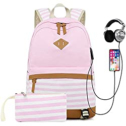Sqoto School Backpack Daypack Shoulder Bag Laptop Bag, Unisex Fashion Rucksack Laptop Travel Bag College Bookbag (PinkStriped-2pcs)