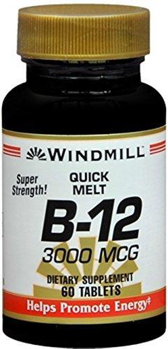 Windmill B-12 3000 mcg Quick Melt Tablets 60 Each (Pack of 12)
