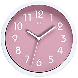 hito HITOTM Modern Colorful Silent Non-Ticking Wall Clock- 10 Inches (Pink)