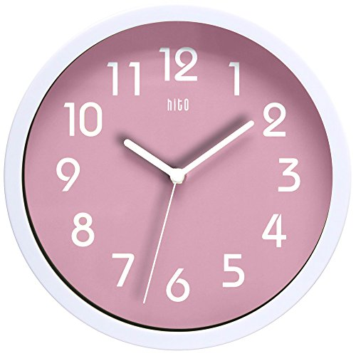 (hito HITOTM Modern Colorful Silent Non-Ticking Wall Clock- 10 Inches (Pink))