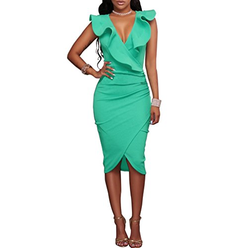 Fire Kirin Women's Ruffles V-Neck Ruched Cocktail Club Evening Party Falbala Bodycon Dress S Mint Green