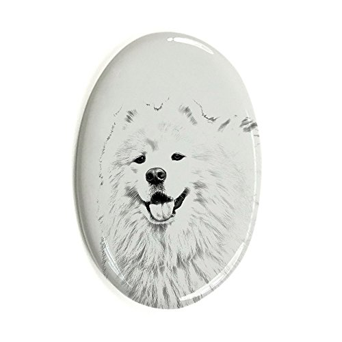 (Samoyed, Oval Gravestone from Ceramic Tile with an Image of a Dog)