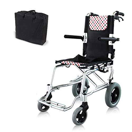 (Aluminum Alloy Folding Wheelchair,with Flip-Back Desk Arms and Handle Brake Portable Push-Chairs,Storage Bag and Seat Belt,Adult Transportation)