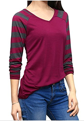 YiLianDa Casual Mujer Camisetas Manga Larga Básico Ropa Moda Cuello Redondo Slim Fit Rojo
