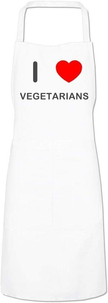 I Love Vegetarians Black Cooks Bib Apron