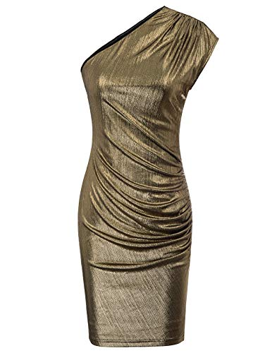 Women's Vintage Sequin Off Shoulder Bodycon Shiny Party Dress Bronze S