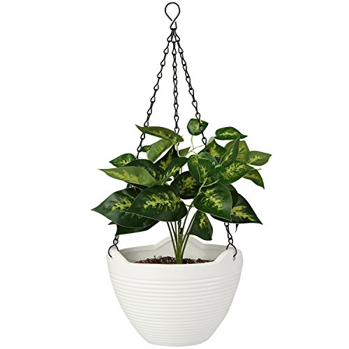 Minimalist Ribbed White Ceramic Hanging Flower Planter Pot with Black Metal Chain Ceramic Hanging Planters