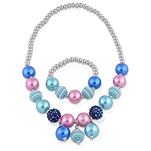 Kids Jewelry - Set For Little Girls, Toddlers, Children - Blue Stretch Play Necklace And Bracelet Set