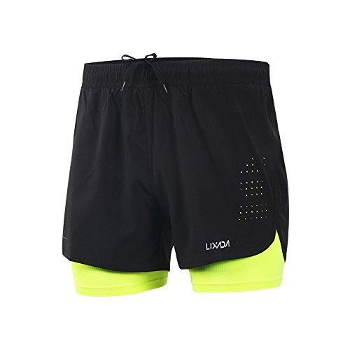 Brooks Mens Running Shorts - Lixada Men's 2-in-1 Running Shorts Quick