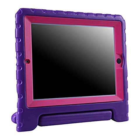 HDE iPad 2 3 4 Bumper Case for Kids Shockproof Hard Cover Handle Stand with Built in Screen Protector for Apple iPad 2nd 3rd 4th Generation (Purple (Touch Ipad A1416)