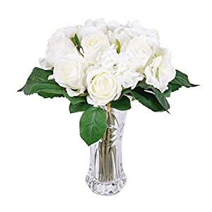 Artificial Flowers 6 White Roses and Hydrangea Silk Flowers Bouquet Real Looking Babys Breath Fake Flowers Wedding Bouquets Centerpieces Arrangements Party Home Decorations 3