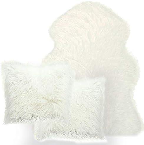 Best Gift Set 3-Piece Soft Faux Fur White Sheepskin(2x3) ft Rug Sofa +2 Decorative Fluffy Pillowcase / Best Gift Set 3-Piece Soft Faux Fur White Sheepskin(2x3) ft Rug Sofa +2 Decorative Fluffy Pillowcase