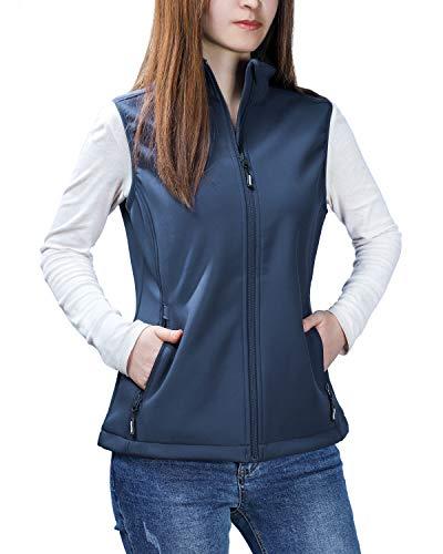 - Outdoor Ventures Women's Mia Lightweight Sleeveless Fall Windproof Soft Bonded Fleece Softshell Zip Vest Navy