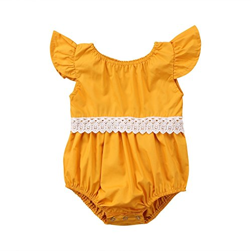 MILWAY Infant Baby Girl Clothes Ruffles Sleeve Lace Romper Sunsuit Bodysuit (Yellow, 90CM/12-18M)