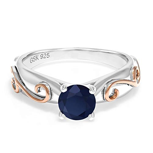Gem Stone King 1.00 Ct Round Blue Sapphire 925 Sterling Silver 2 Tone Vine Ring (Size 7) Blue Sapphire Two Tone Ring