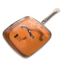 Copper square frying pan with lid. 9.5 inch, non-stick | heat induction for even cooking | Ceramic Coated, dishwasher safe, oven safe, no oil, no butter