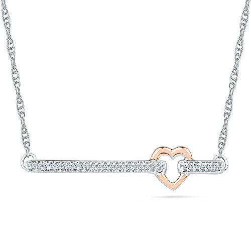 Bar Pendant In Rose And White Gold With Diamonds (0.08 CTTW) With 16'' Rope Chain by Estella Collection