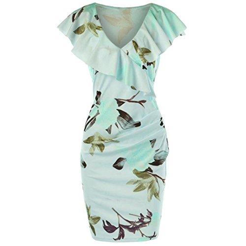 Robe Vert Gaine Chic Longue Occasionnel Femme Collier Imprim Robe Floral Volant Robe Boheme Retro Printemps Plage Ete gCw06