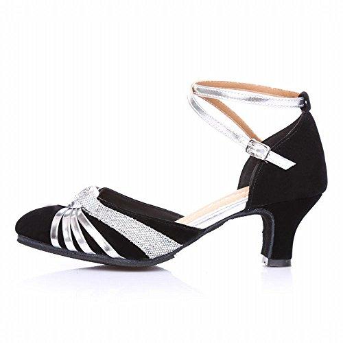 BYLE Sandalias de Cuero Tobillo Modern Jazz Samba Zapatos de Baile Zapatos de Baile Latino Adulto Tirantes Transpirable Zapatos de Baile Negro Plata Onecolor