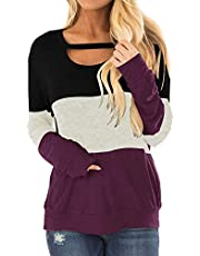 RANPHEE Womens Color Block Chest Cutout Tunic Fall Casual Blouse Long Sleeve Tops Shirt Pullover Sweatshirt