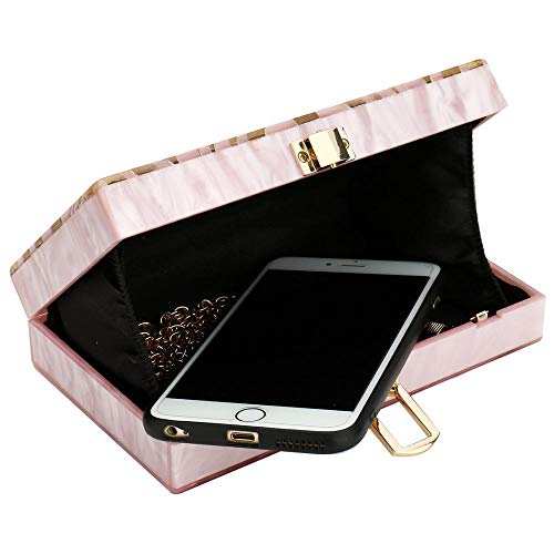 Geometrys Pattern Desiger IBELLA Handbags Purse Evening Acrylic Pink Clutchs Shiny Purse Women Clutch q6HBO