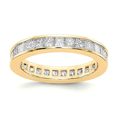 PAVOI 14K Gold Plated Cubic Zirconia Rings | Princess Cut Eternity Bands | Stackable Yellow Gold Ring Size 7