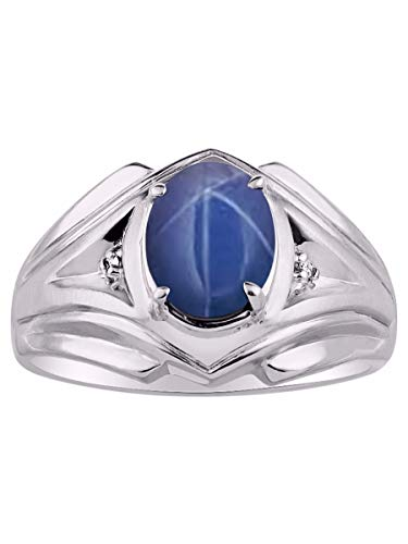 RYLOS Simply Elegant Beautiful Blue Star Sapphire & Diamond Ring - September Birthstone ()