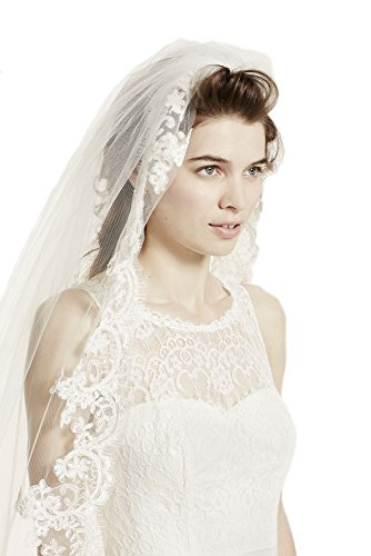 Passat Diamond White Single-Tier 3M Cathedral bridal veils with Lace Embroidery DB62 by Passat